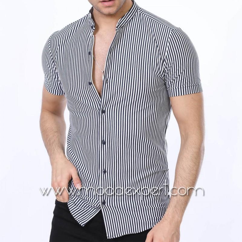 Мъжка риза с къс ръкав №MR-672-S