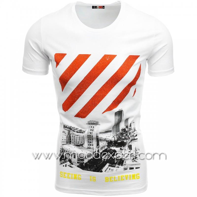 Мъжка тениска с камъни №C7484-W