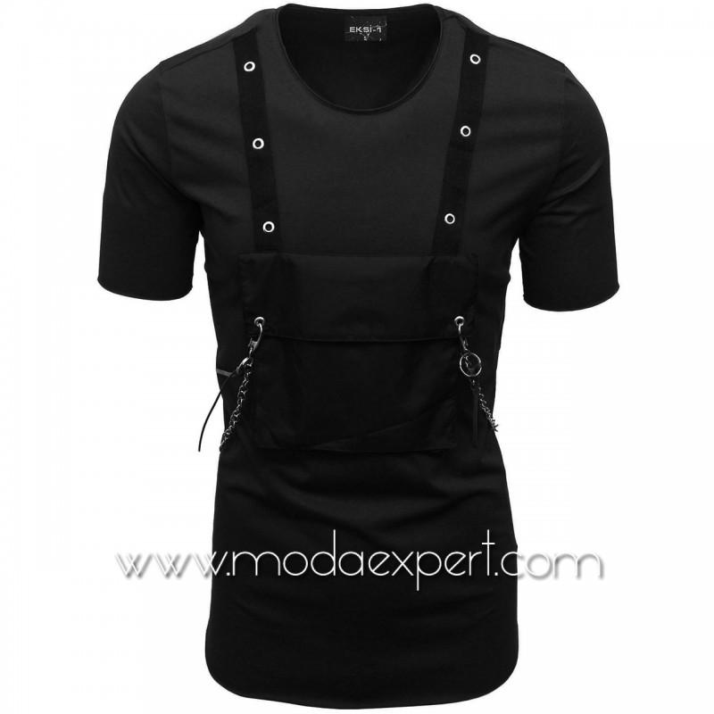 Мъжка тениска с джоб и синджир №E001-B