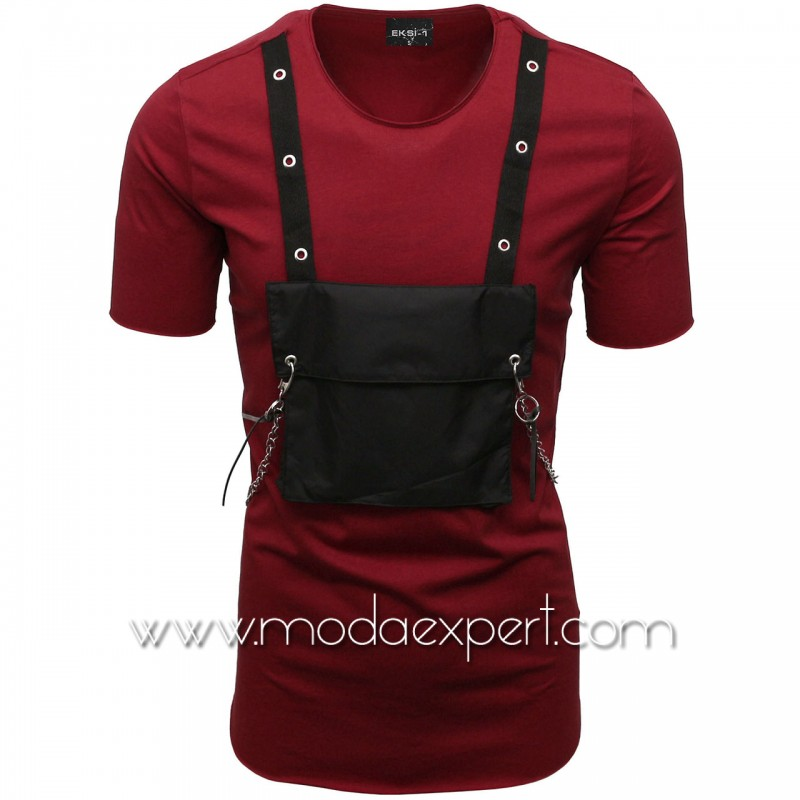 Мъжка тениска с джоб и синджир №E001-C