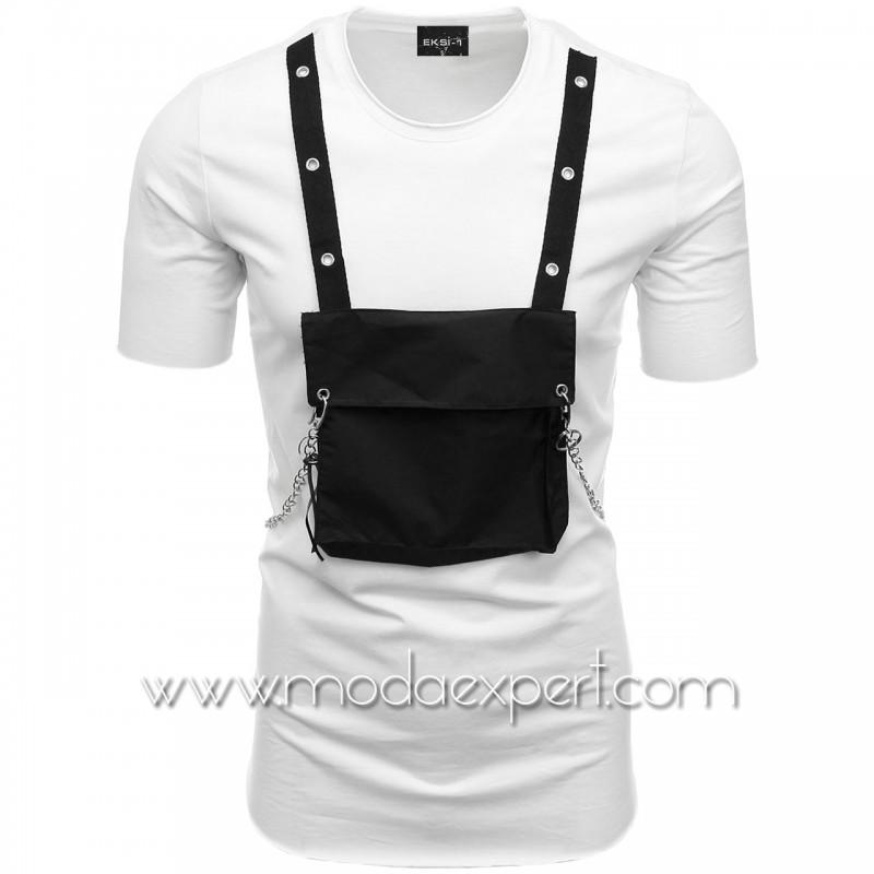 Мъжка тениска с джоб и синджир №E001-W