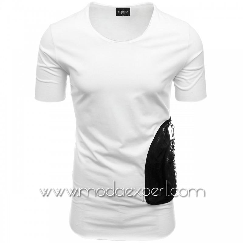 Мъжка тениска с двоен джоб №E002-W
