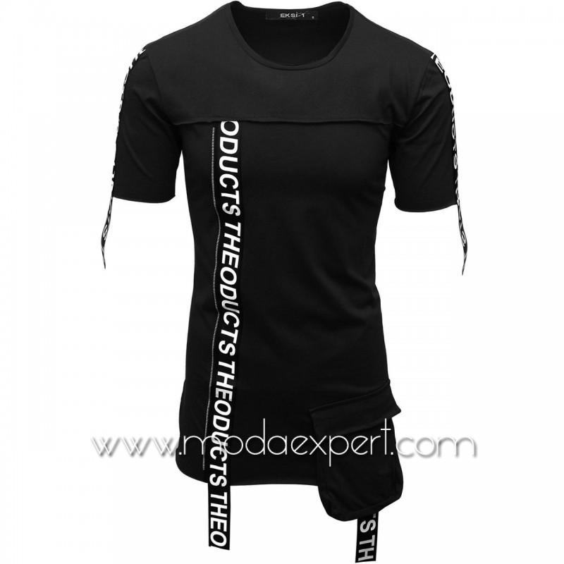 Мъжка тениска с ленти с надписи №E007-B