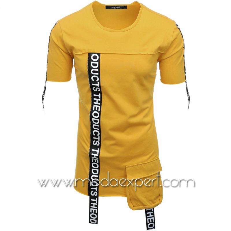 Мъжка тениска с ленти с надписи №E007-M