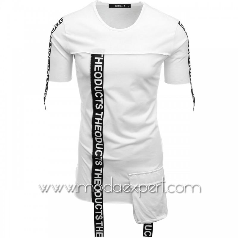 Мъжка тениска с ленти с надписи №E007-W