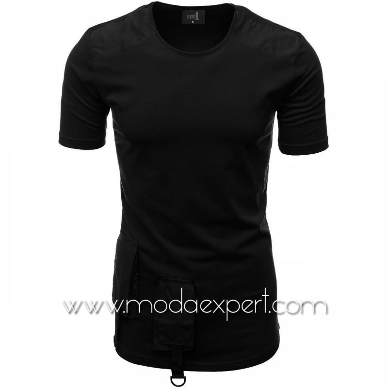 Мъжка тениска с джобове и декорации №E012-B