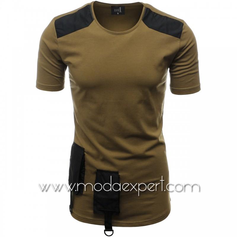 Мъжка тениска с джобове и декорации №E012-K