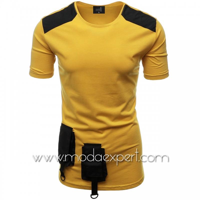 Мъжка тениска с джобове и декорации №E012-M