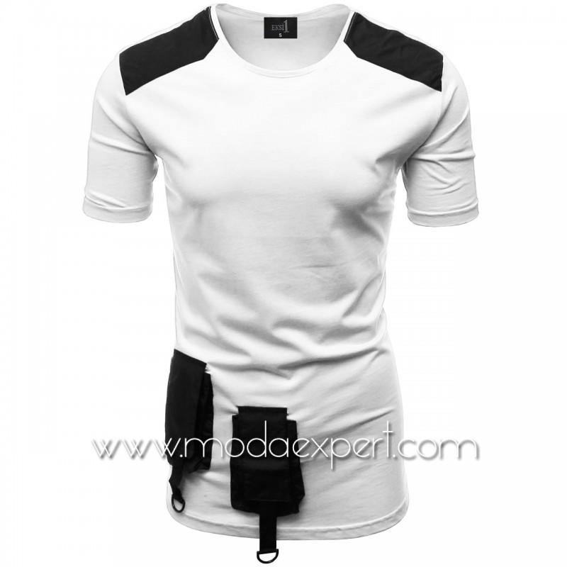 Мъжка тениска с джобове и декорации №E012-W