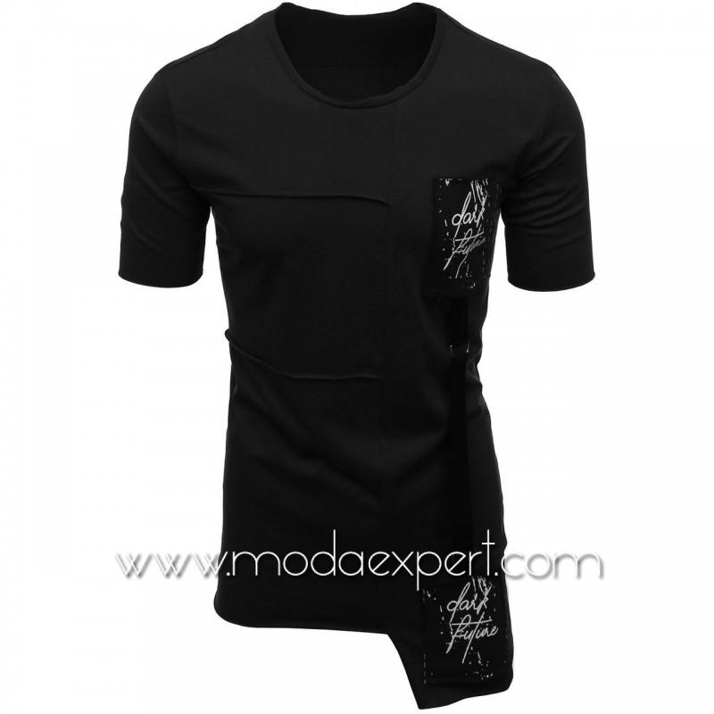 Мъжка тениска с апликации №E021-B