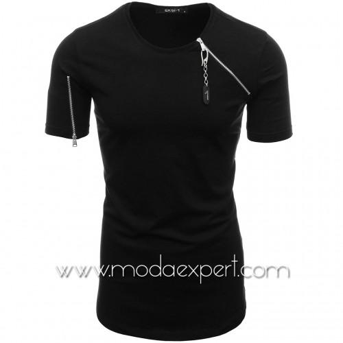 Мъжка тениска с декоративни ципове №E024-B