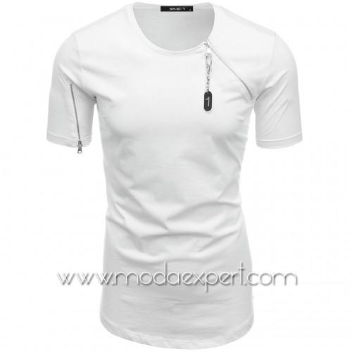 Мъжка тениска с декоративни ципове №E024-W