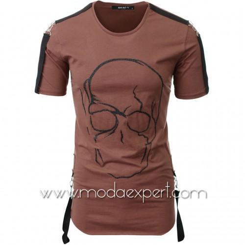 Мъжка тениска с релефна щампа №E033-T