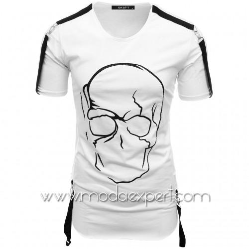 Мъжка тениска с релефна щампа №E033-W