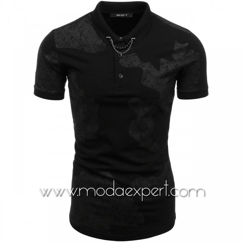 Камуфлажна тениска с яка №E048-B