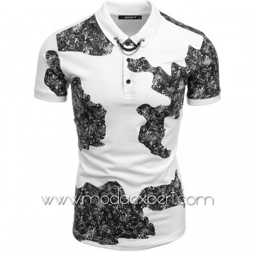 Камуфлажна тениска с яка №E048-W