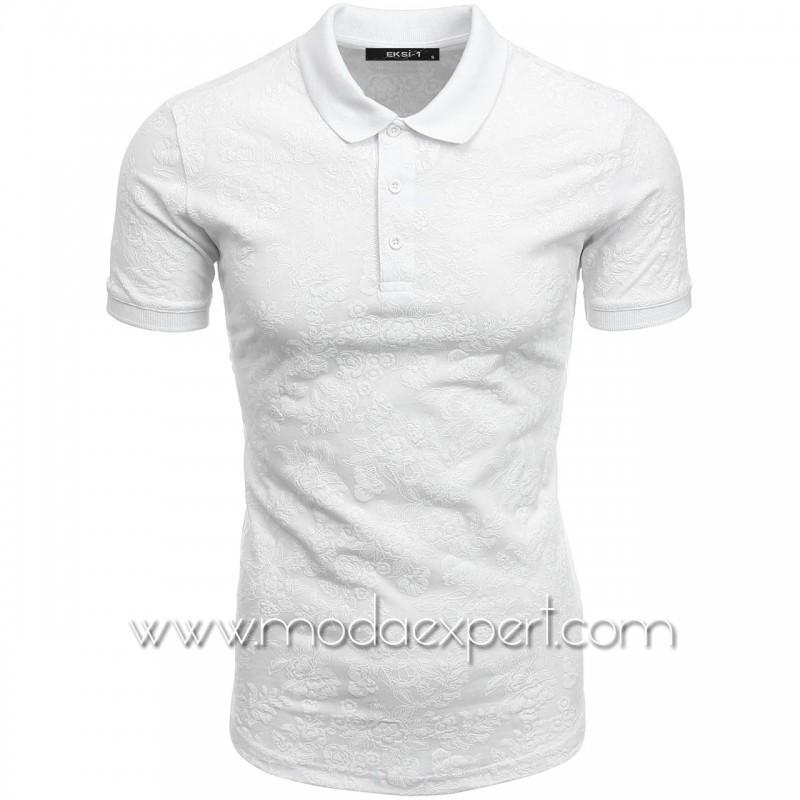 Мъжка тениска с релефна щампа №E052-W