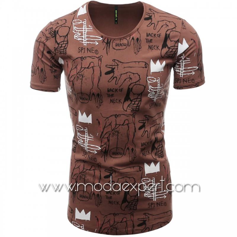 Мъжка тениска с щампи №E076-T
