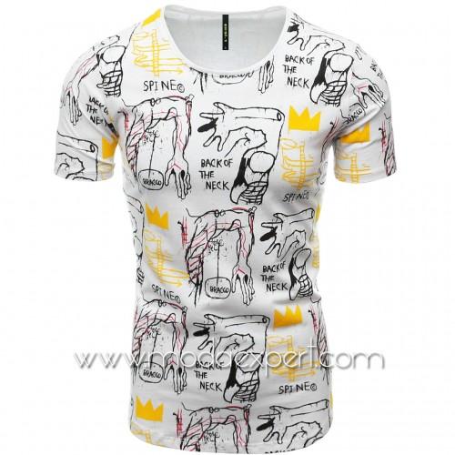 Мъжка тениска с щампи №E076-W