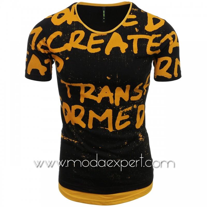 Мъжка тениска с щампи №E080-BM