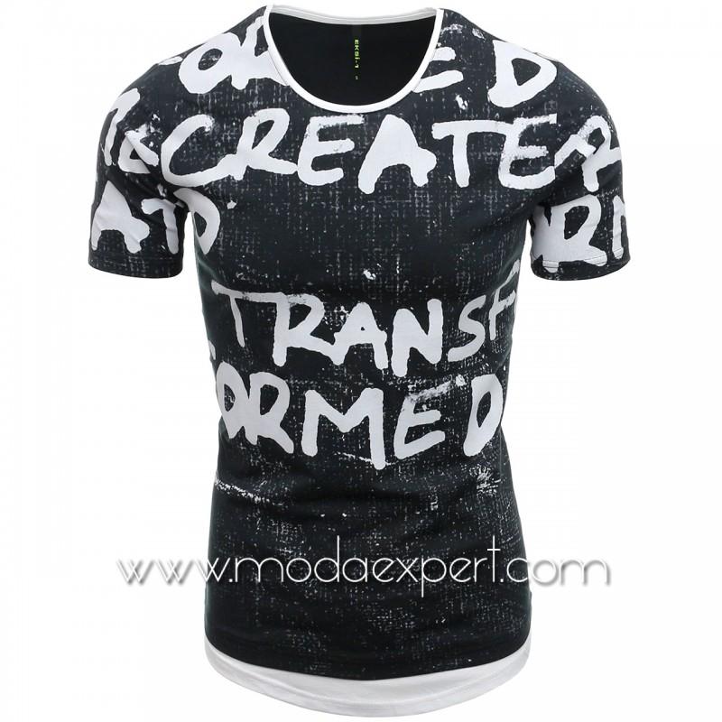 Мъжка тениска с щампи №E080-G