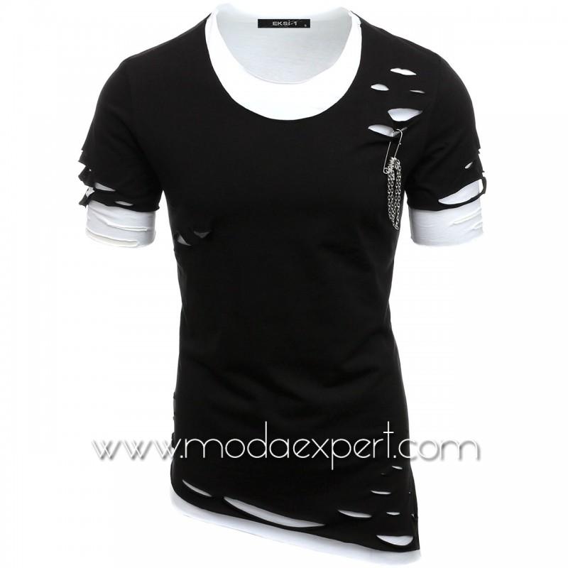 Асиметрична тениска с прорези №E091-B