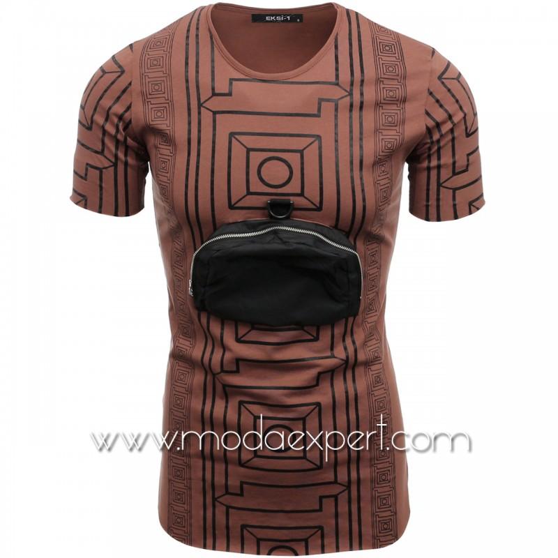 Мъжка тениска с джоб №E099-T