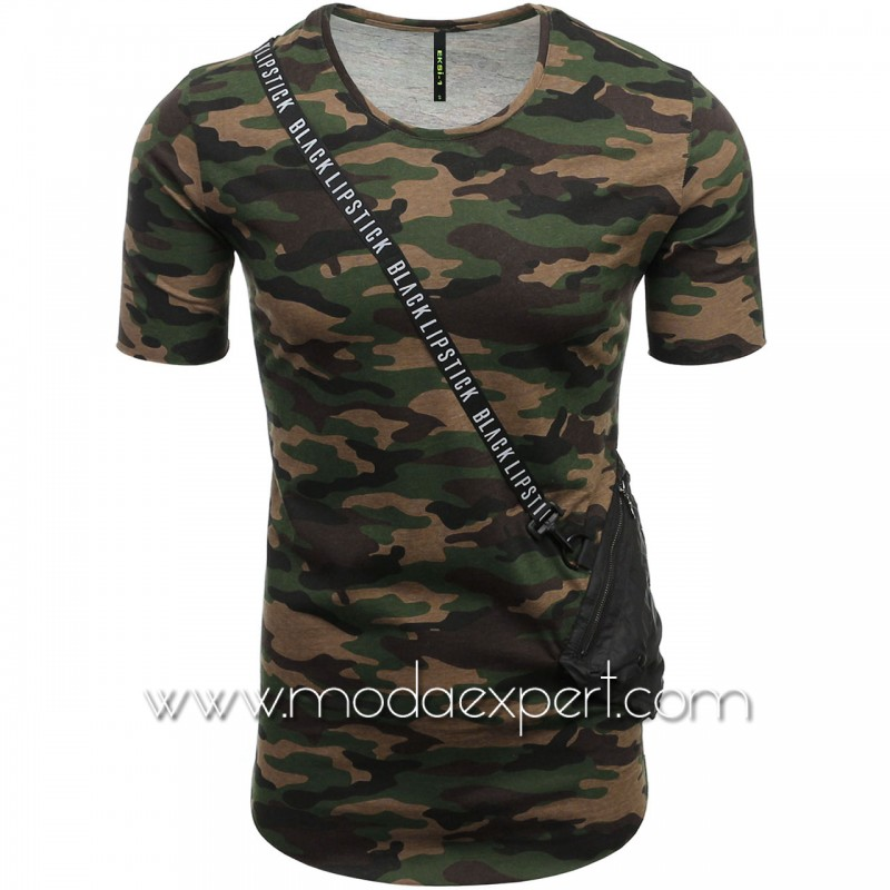 Камуфлажна тениска с джоб №E182-K