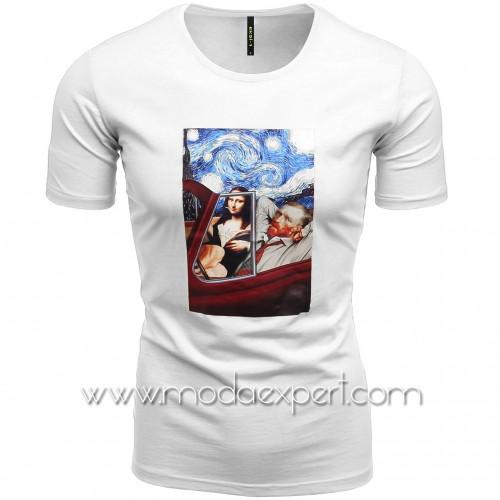 Мъжка тениска с щампа №E196-W