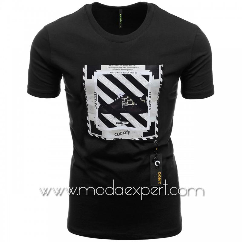 Мъжка тениска с гумена деорация №E234-B