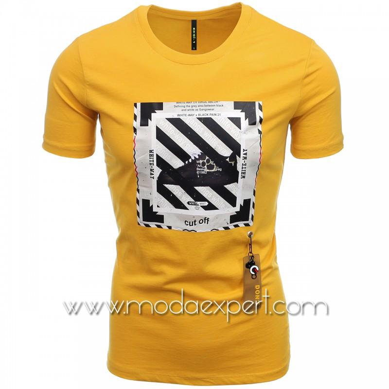 Мъжка тениска с гумена деорация №E234-M