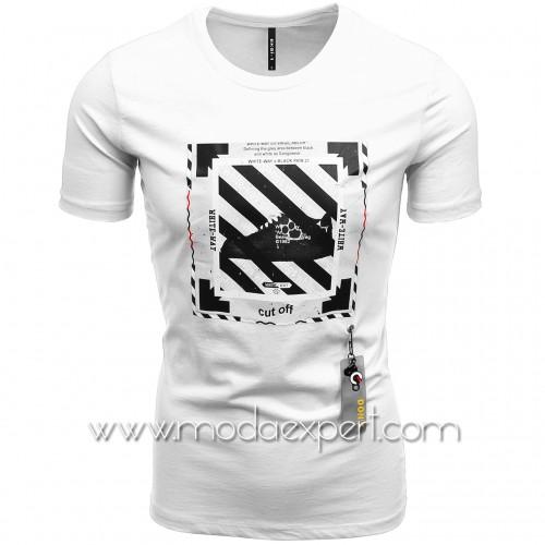 Мъжка тениска с гумена деорация №E234-W