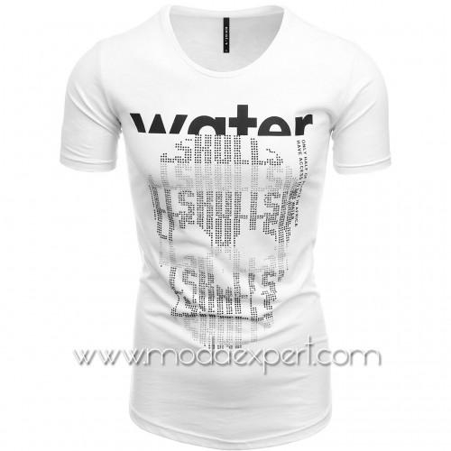 Мъжка тениска с щампа и камъни №E242-W