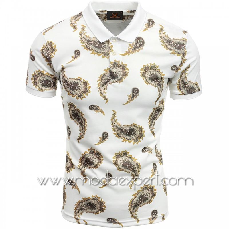 Мъжка тениска с яка №MR908-W
